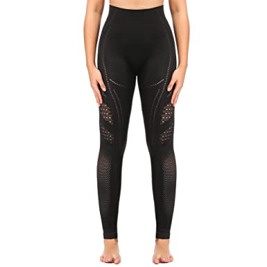 52e683cbad SEKERMAET Yoga Leggings High Waist, Gym Workout Tights Athletic Pants  Running for Women Compression Black