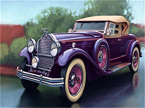 YEESAM Art New DIY Paint by Number Kits for Adults Kids Beginner - Classic Car 16x20 inch Linen Canvas - Stress Less Number Painting Gifts (Car, Without Frame)