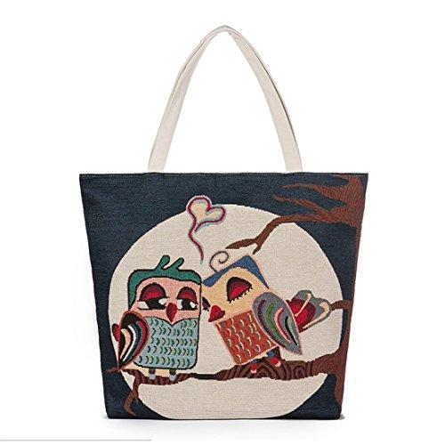 mensajero mujeres de buho Crossbody bolso Multicolor1 Lona bolsos Diseñador moda Pintura de Luckywe bolsa zaZqpZ