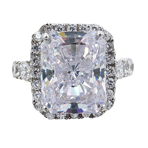 SR01810 .925 Sterling Silver 7ct Total Radiant Cut Center Halo CZ Prong Set (Radiant Cut Center)