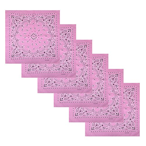 6 Pack Square Headbands Cowboy Bandanas,Pink ()