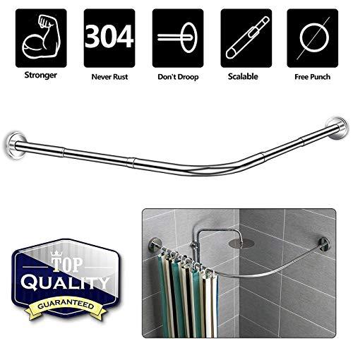NiUB5 Curved Shower Rod,L Shaped,Corner Shower Curtain Rods,Adjustable 27.55