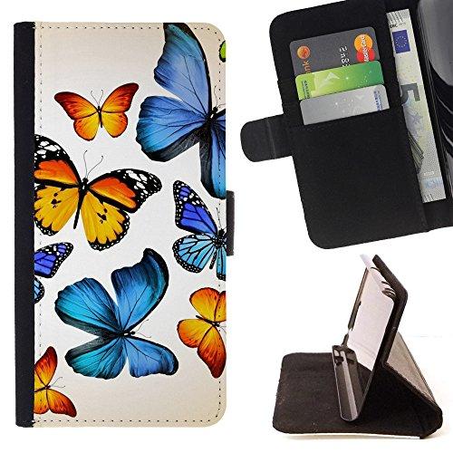 God Garden - FOR Apple Iphone 5C - Butterflies - Glitter Teal Purple Sparkling Watercolor Personalized Design Custom Style PU Leather Case Wallet Fli