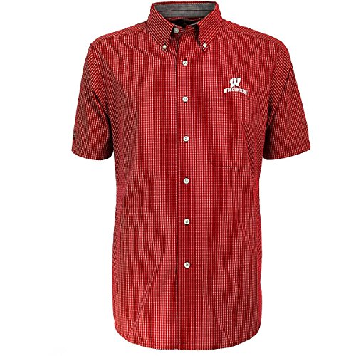 Antigua Red Classic Shirt (ANTIGUA MEN'S WISCONSIN BADGERS LEAGUE SHORT-SLEEVE BUTTON-DOWN SHIRT RED EXTRA LARGE)