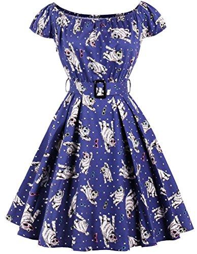 Ayli Women's Scoop Cap Sleeve Cool Cats on Blue 1950s Retro Swing Dress, (Blue Retro Cat)
