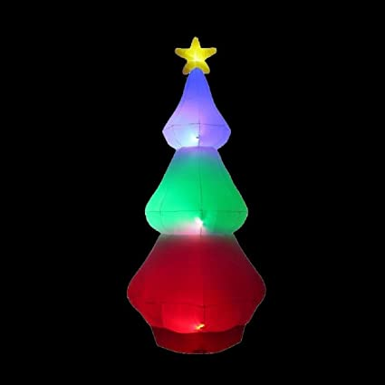 Amazon Home Accents 10 Ft Inflatable Red Green Blue Tree Color Changing Airblown Christmas Decor Kitchen