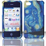 2D Blue Design Apple Iphon iphone 4, 4S at&t. Verizon, Sprint, C Spire Case Cover Hard Phone case Snap-on Cover Rubberized Touch Faceplates