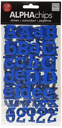 me & my BIG ideas Alpha Chips Designer Chipboard Letter Stickers, Rockwell Alphabet Dark Blue Ultraviolet ()