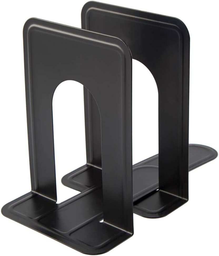 Bookshelf Iron Bookends MsFun Black Feathers Non Slip Iron Bookends Creative Gifts for Office Desk Home