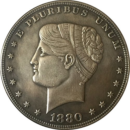 Rare Antique United States 1880 Year Pluribus Unum Great Silver Color Restrike Goloid Metric Dollar Coin