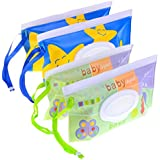 LIGONG 4PCS Reusable Wet Wipe Pouch Travel Wet Wipe Case Wipes Dispenser Baby Eco Friendly Wipe Pouches