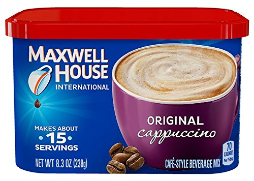Maxwell House International Cafe Flavored Instant Coffee, Cappuccino, 8.3 Ounce Canister (Pack of 4)