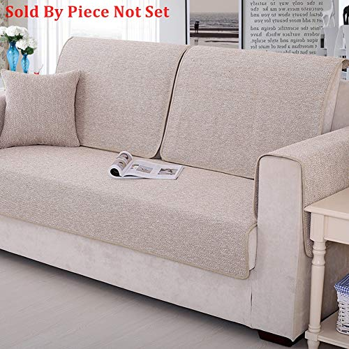 Sofa Furniture Protector for pet or Dog Sofa Cover All Season Sectional Sofa Throw slipcover L Shape Solid Color Thicken Cotton and Linen Couch slipcover -1 Piece-L 43x94inch(110x240cm)