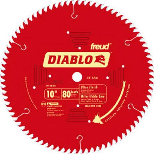 Freud D1080X Diablo 10-Inch 80-tooth ATB Finish Saw Blade with 5/8-Inch Arbor and PermaShield Coating Pine Veneer Blades