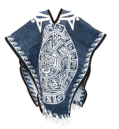 Authentic Mexican Poncho Reversible Blanket with Aztec Calendar (Mexican Ladies Costume)