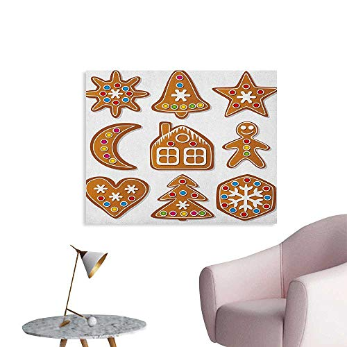 Anzhutwelve Gingerbread Man Photographic Wallpaper Set of Graphic Gingerbread Sugar Biscuits Colorful Dots and Bonbons Poster Print Brown Multicolor W48 xL32