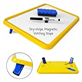 Wedge Whiteboards - A4 Dry-Wipe, Magnetic White/ Lap Board with Legs - Set Includes 4 Pens and Board Rubber (Yellow)