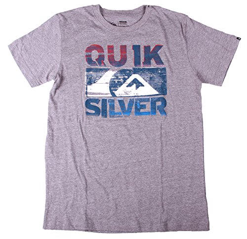 QuickSilver Big Boys Crew Neck Screenprinted Tee Shirt (18|20 XL, Medium Heather Grey)