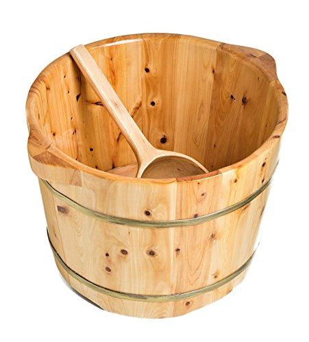 ALFI brand AB6604 15-Inch Solid Cedar Wood Foot Soaking Barrel Bucket with Matching Spoon