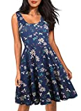 HELYO Women's Elegant Style Scoop Neck Pockets Floral Print Swing Cocktail Dress for Work Pockets 169 Blue L