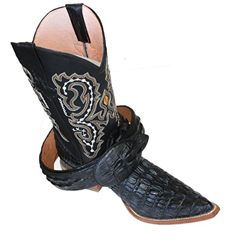 Dona Michi Mens Western Cowboy Leather Crocodile Print (Embossed) Boots/Free Belt_Black_9.5