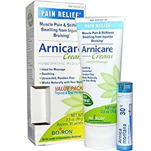 Boiron, Arnicare Cream, Pain Relief Value Pack, 2.5 oz (70 g), Arnica 30C, 80 Oral Pellets
