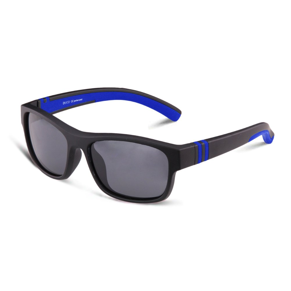 Duco Kids Sports Style Polarized Sunglasses Rubber Flexible Frame For Boys And Girls K006 55) K006-Black-UK