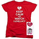 I Love Lucy Keep Calm Women's T Shirt & Exclusive Stickers, Red, Medium