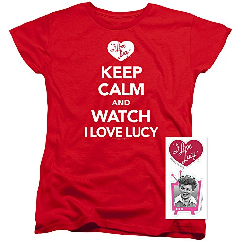- I Love Lucy Keep Calm Women's T Shirt (X-Large) Red