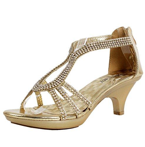 Amazon.com | Delicacy Angel 36 Women Dress Sandal Rhinestone Low ...