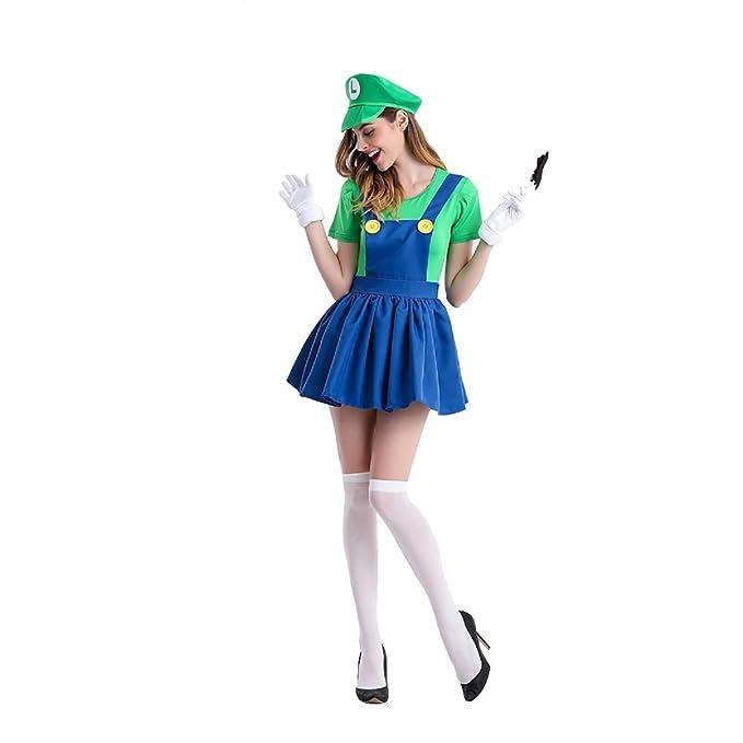Womens Adult Mario and Luigi Costumes Super Plumber Bros Halloween Fancy Dress
