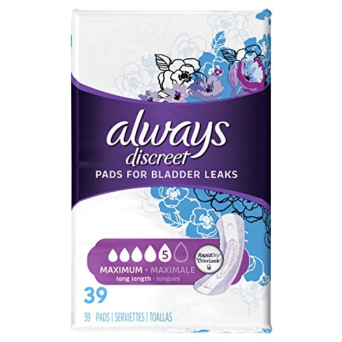 Always Discreet, Incontinence Pads, Maximum, Long Length, 39 Count (Packaging May (Adult Incontinence Pads)