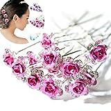 AKOAK 20 Pcs/Lot Women Wedding Bridal Clear Crystal Rhinestone Rose Flower Hair Pin Clips Hair Accessories Jewelry Barrettes Headwear(Pink)