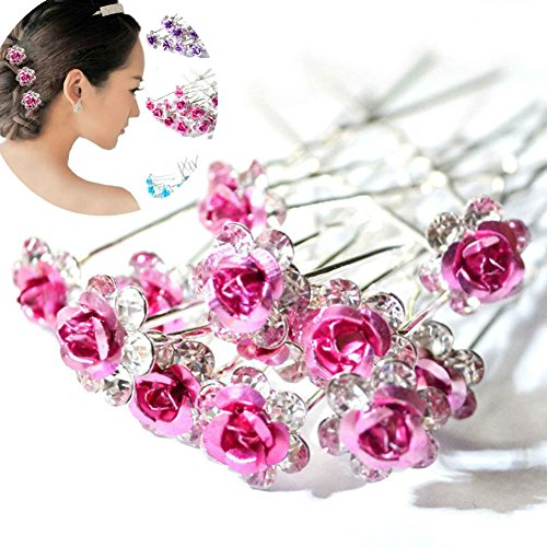 AKOAK 20 Pcs/Lot Women Wedding Bridal Clear Crystal Rhinestone Rose Flower Hair Pin Clips Hair Accessories Jewelry Barrettes Headwear?Pink?