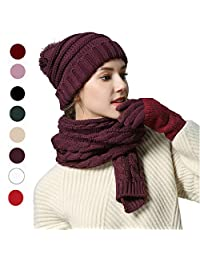 Fashion Scarf Hat Gloves Set Reddish Brown Soft Warm Thick Cable Knitted Hat Long Scarf Beanie Mitten Touch Screen Gloves Gift Set Winter Warm Accessories(Reddish Brown)