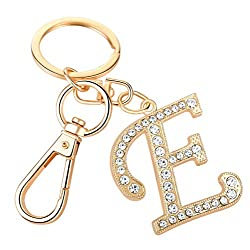 """Crystal Alphabet Initial Letter Pendant """"E"""" with Key Ring"""