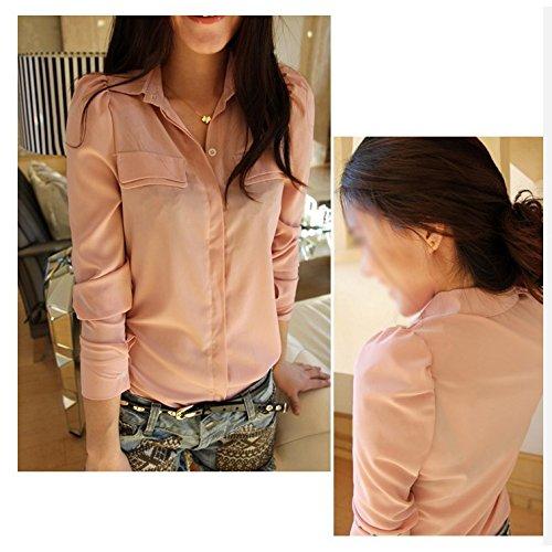 SODIAL(R) Nueva Blusa De Primavera Otono De Moda Coreana Camisa Casual De Manga Larga Para Mujeres, Verde S: Amazon.es: Ropa y accesorios
