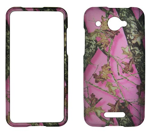 (2D Pink Camo Leaves HTC DROID DNA 4G LTE X920E Verizon Hard Case Snap-on Hard Shell Protector Cover Phone Hard Case Case Cover Rubberized Frosted Matte Surface Hard Shells)