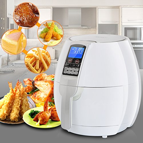 ZENY 3.5L/ 3.7QT Oil-Free 1500 Watts Electric Air Fryer Cooker with 8 Cooking Settings Holiday Christmas Gift (White) Review