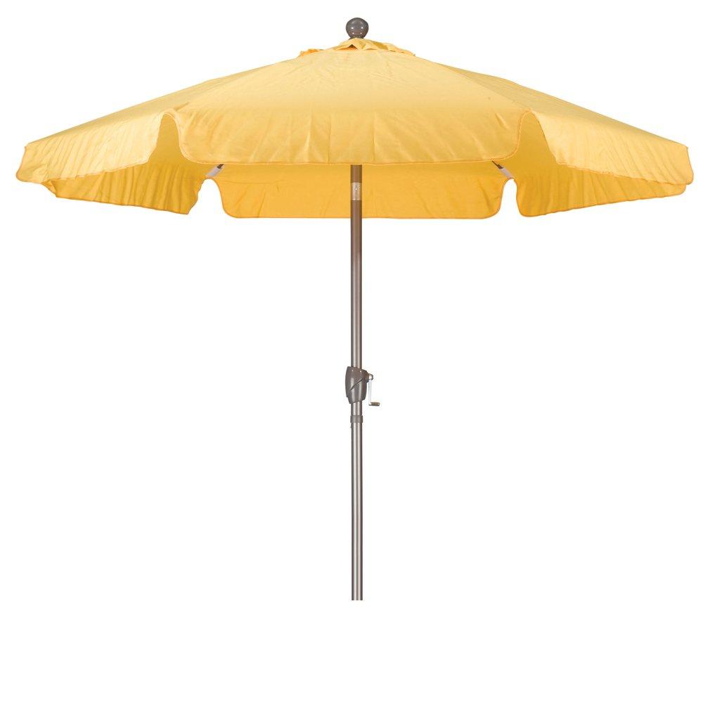 California Umbrella 7.5' Round Aluminum Pole Fiberglass Rib Umbrella, Crank Open, Push Button 3-Way Tilt, Champagne Pole, Yellow