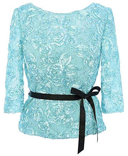 Alex Evenings Womens Plus Rosette Sequined Dress Top Green 1X