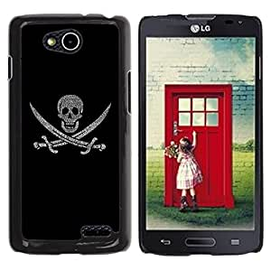 Be Good Phone Accessory // Dura Cáscara cubierta Protectora Caso Carcasa Funda de Protección para LG OPTIMUS L90 / D415 // Pirate Sign Flag Ship Skull Swords Symbol Art
