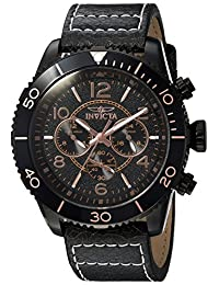 Invicta Men's Aviator Brown Leather Band Steel Case Flame-Fusion Crystal Quartz Black Dial Watch 24554