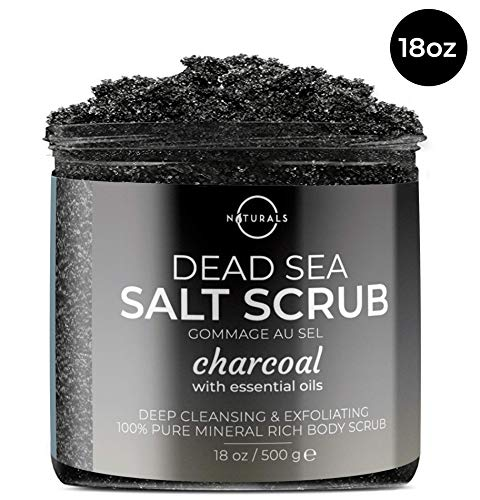 O Naturals Detoxifying Activated Charcoal Dead Sea Salt Face & Body Scrub. Exfoliate & Deep Cleanse Pores. Clear Back & Shoulder Acne, Control Oily Skin. Peppermint, Jojoba & Sweet Almond Oil. 18 Oz