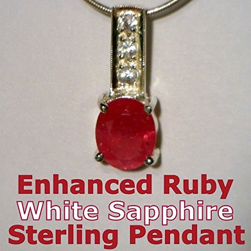 Enhanced Ruby - Enhanced Red Ruby with White Sapphire Handmade Sterling Silver Ladies Pendant
