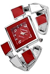 Top Plaza Fashion Women's Bangle Cuff Bracelet Analog Watch, Silver Tone Red Face