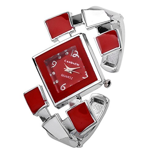 Top Plaza Womens Ladies Casual Elegant Silver Tone Rhombus Face Dress Analog Quartz Bangle Cuff Bracelet Watch 6 Inches,Mother's Day Gift,Red (Watch Quartz Bracelet Bangle)