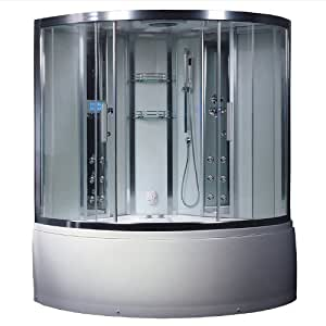 Ariel Platinum DA324HF3 White Steam Shower and Whirlpool Bathtub Corner Unit