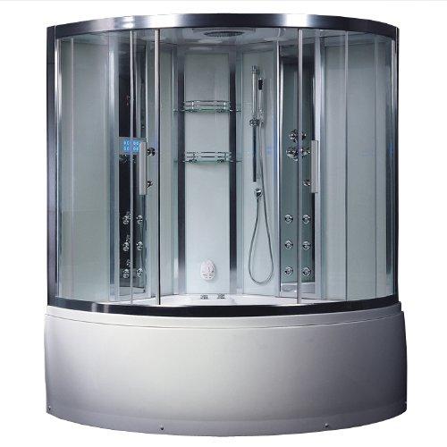 Corner Whirlpool Bath (Ariel Platinum DA324HF3 White Steam Shower and Whirlpool Bathtub Corner Unit)