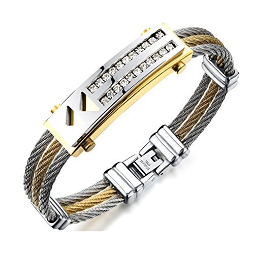 Wonlines Hip Hop Stainless Steel Two Row Crystal Bangle Wire Braid Buckle Wristband Bracelet(White Gold)